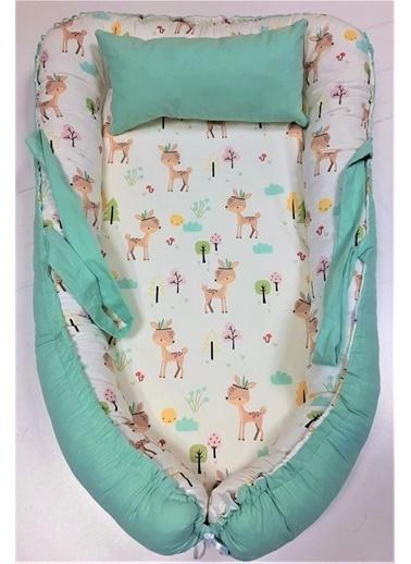 POKY Yenı Sezon Kız Erkek Bebek Anne Yanı Uyku Yatağı Yastığı-712 Yeşil